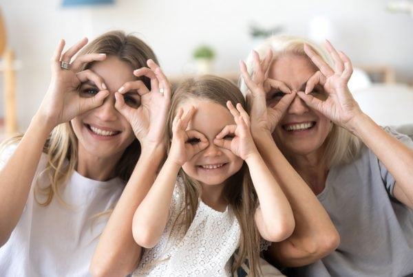 Three generations of women looking through rounded fingers over eyes